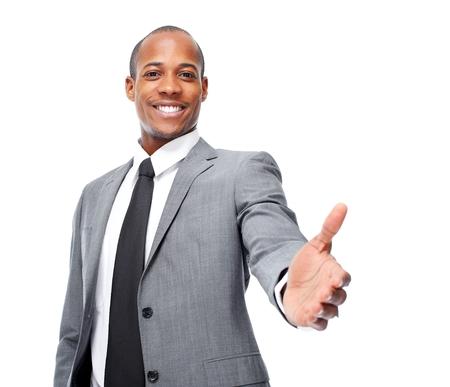African-American businessman handshake.