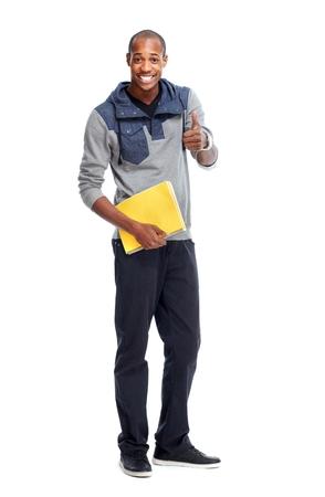jovenes estudiantes: Hombre estudiante afroamericana con el libro