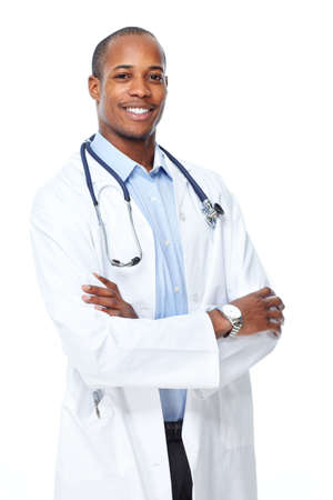 young male doctor: African-American black doctor man.