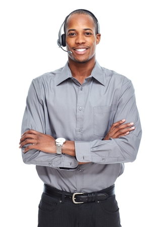 call center people in isolated: African American man in headsets.