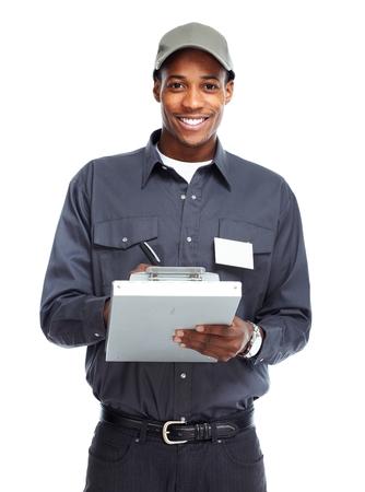 maintenance worker: African American worker man.
