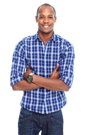 hombres negros: Hombre negro afroamericano con estilo