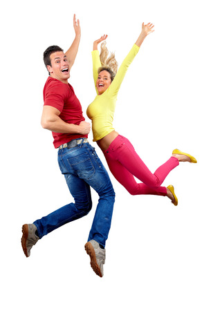 flying woman: Happy jumping couple