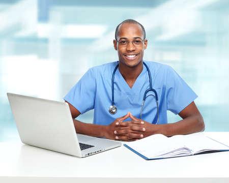 nurse computer: African-American black doctor man.