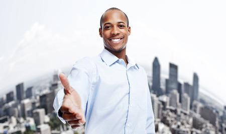 african american handshake: African-American black businessman.