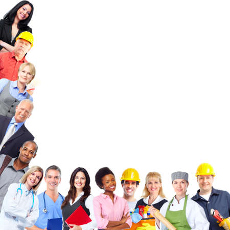 public company: Group of workers people.