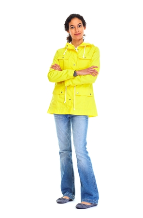 middle eastern clothes: Young woman in yellow jacket and jeans