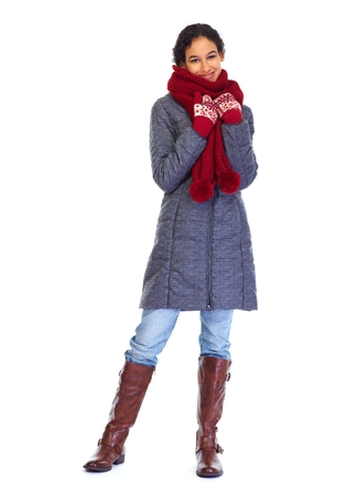 winter fashion: Woman in winter coat isolated on white background