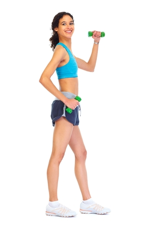 Young fitness woman isolated on white background Stock Photo