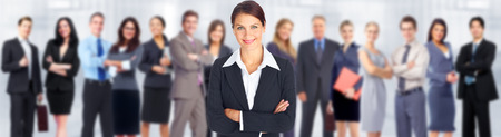 group  accountant: Business woman and group of workers people team.