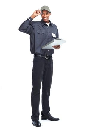 mailmen: African American worker man.