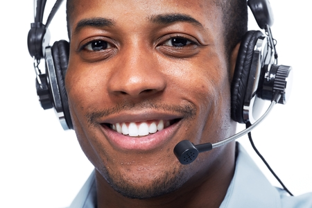 Man with headphones. Call center operator Stock Photo