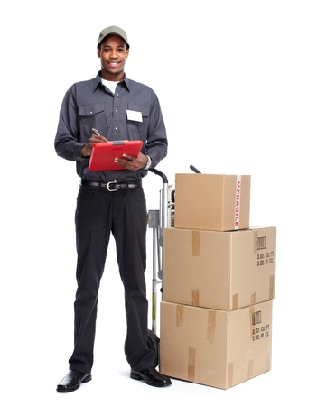 delivery service: African-American postman isolated on white background