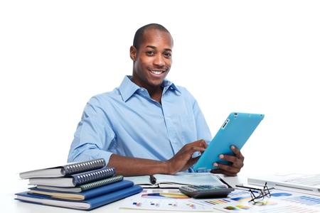 hombres negros: Hombre negro con el equipo Tablet PC