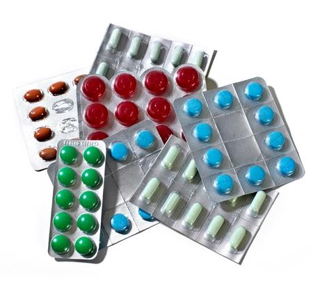 Many Medical pills. Health care Pharmaceutical background Stock Photo