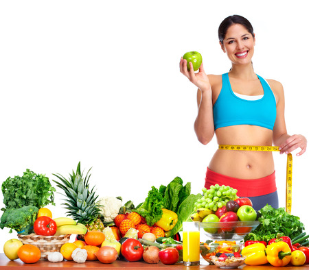 healthy nutrition: Woman measuring her body. Diet and healthy nutrition.
