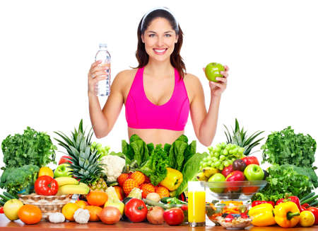 dieta sana: Mujer sana delgada perder peso. Salud y alimentaci�n