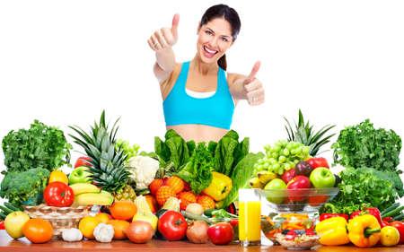 diet food: Slim healthy Woman losing weight. Health and diet