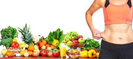 over weight: Female body fat on her abdomen. Weight loss diet and health. Stock Photo