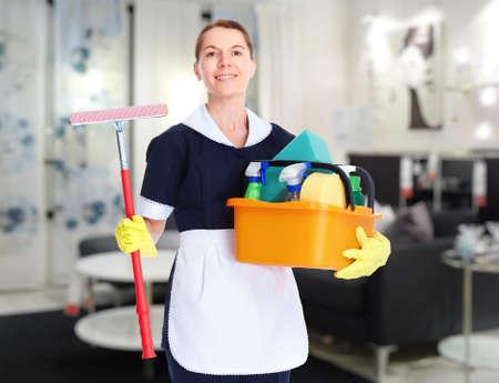 housemaid: Housemaid cleaner woman working in modern hotel