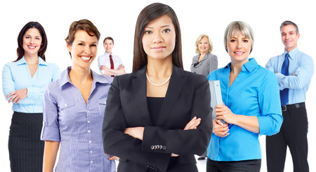 group  accountant: Business people group isolated on white background.