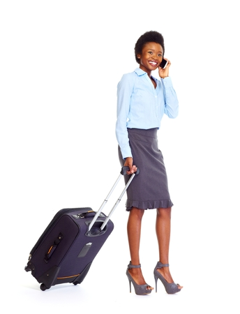 Young african business woman isolated white background photo
