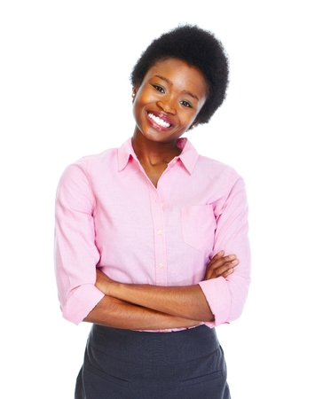 african business woman: Young african business woman isolated white background