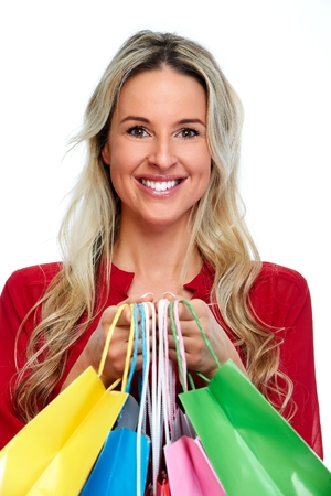 purchase: Beautiful young blond woman with shopping bags
