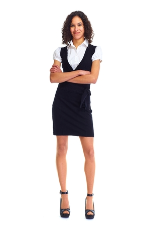 hispanic students: Young friendly business woman isolated white background Stock Photo