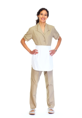 housemaid: Young friendly Housemaid woman isolated white background.