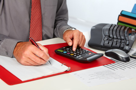 creditor: Hands of accountant business man with calculator. Accounting