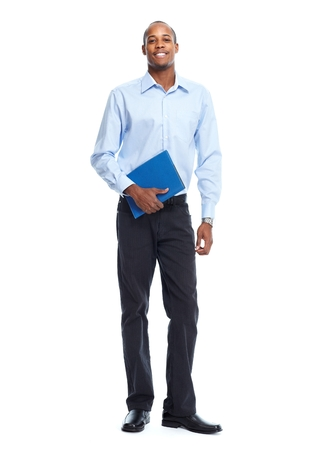 african businessman: African American Businessman isolated white background. Student
