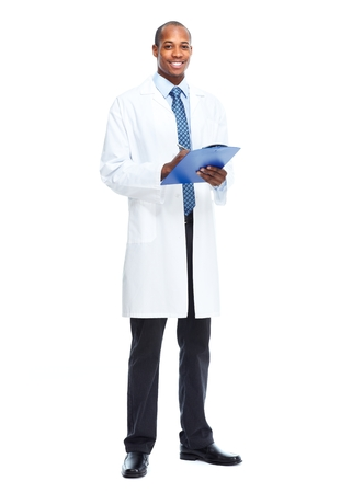 doctor clipboard: African-American black doctor man isolated white background. Stock Photo