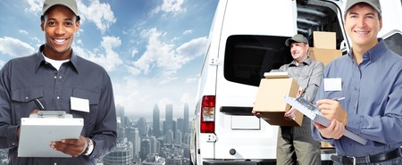 car carrier: African-American postman. Delivery and shipping background
