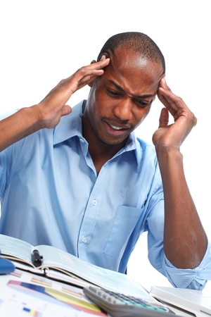 disillusionment: African-American businessman having stress. Debts and problems