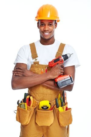 carpenter tools: Handyman isolated over white background. House renovation