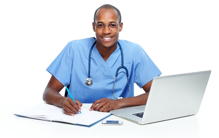 pediatric nurse: African-American Medical doctor man working with computer. Stock Photo