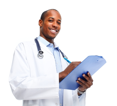 doctor writing: African-American Medical doctor writing prescription.