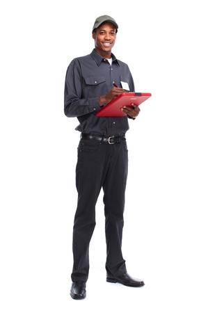 cartero: Cartero afroamericano aislado en fondo blanco