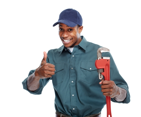 plumber tools: Handyman isolated over white background. House renovation