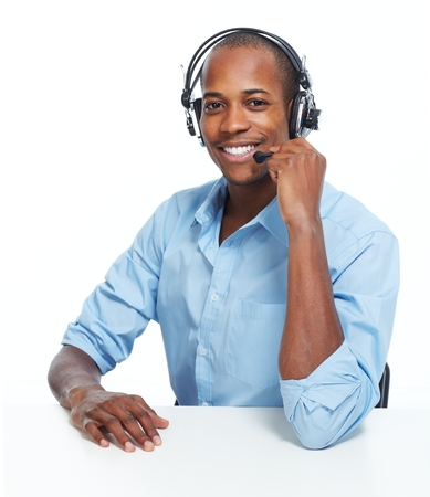 call center people in isolated: Call center operator man. Stock Photo