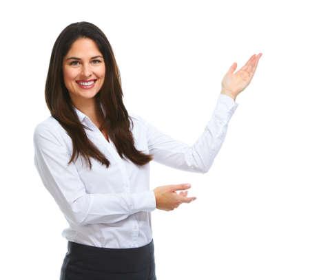 Young Business Frau präsentieren Kopie Speicherplatz. Standard-Bild