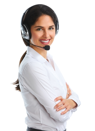 contact center: Woman with headsets isolated white background