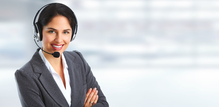 Woman with headsets Stock Photo