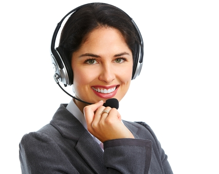 call center female: Woman with headsets Stock Photo