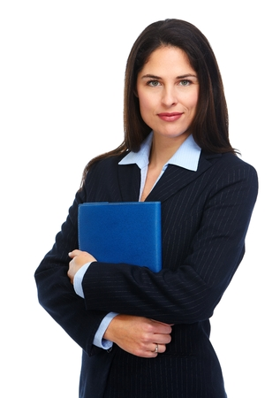 friendly: Young business woman with folder.