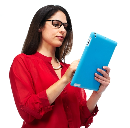 e business: Woman with tablet computer
