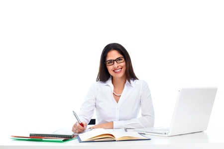 Young business woman working with computer. photo