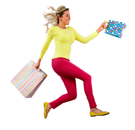 hurry up: Happy running Shopping woman
