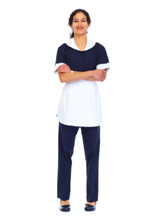 hotel worker: Housemaid woman isolated white background. Stock Photo